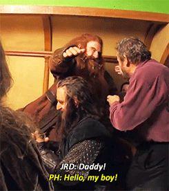 John Rhys-Davies meets Peter Hambleton, the actor who plays Glóin, the father of Gimli.