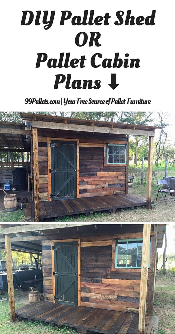 DIY Pallet Shed – Pallet Outdoor Cabin Plans - 99 Pallets you can purchase pallets at www.warehousecubed.com