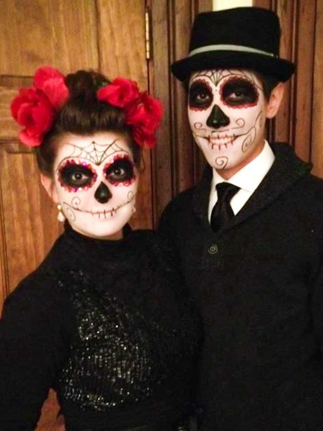 Dia de Los muertos, day of the dead, sugar skull, couples DIY Halloween costume!