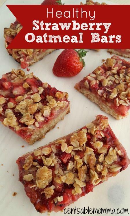 Strawberry oatmeal bars, Oatmeal bars and Oatmeal on Pinterest