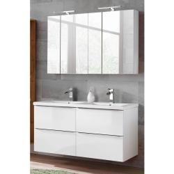 Badmobel Set In Hochglanz Weiss Mit Doppel Keramik Waschtisch Und 2 Spiegelschranken Toskana 56 Bxhxt Spiegelschrank Waschtisch Und Waschbecken Armaturen