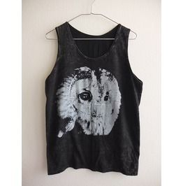 Barn Owl Bird Animal Stone Wash Vest Tank Top M