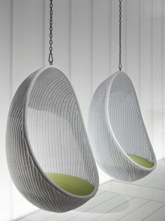 furniture nice looking white woven rattan two hanging egg chair with white wooden wall panels. Black Bedroom Furniture Sets. Home Design Ideas