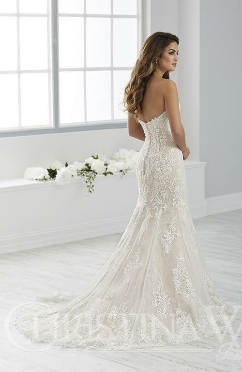 Beaded Floral Lace Sits On Top Of A Layer Of All Over Chantilly Lace On This Romantic Slim Gown Wedding Dresses Bridal Dresses Strapless Lace Wedding Dress