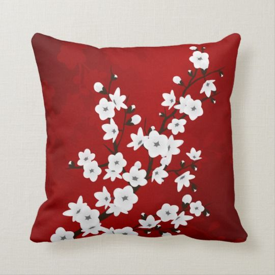 Red Black And White Cherry Blossoms Oriental Throw Pillow Zazzle Com White Cherry Blossom White Cherries Throw Pillows