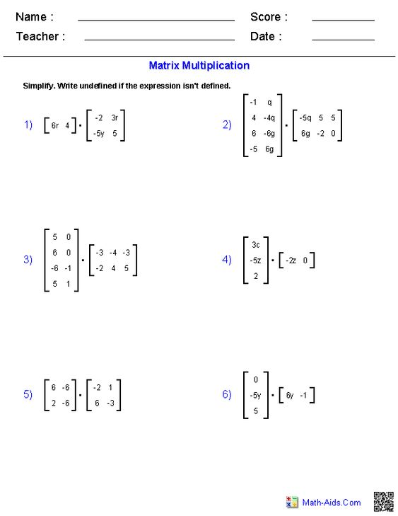 Matrix Multiplication Calculator for any Matrix Type – Matrix Multiplication Worksheet