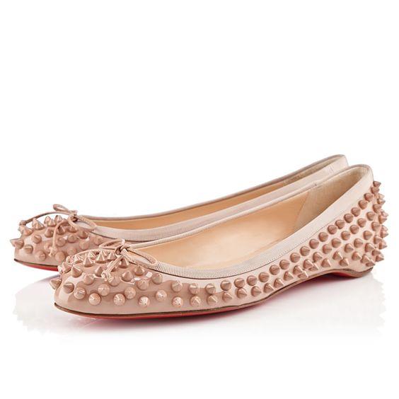 christian lebouton shoes - sonietta spikes flat nude patent \u0026gt;christian louboutin | Christian ...