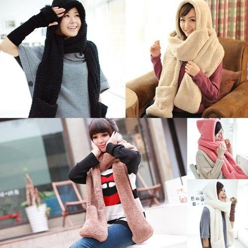 Women Fashion Winter Warm Long Thick Lamb Velvet Hooded Scarf Hat With Gloves #eozy