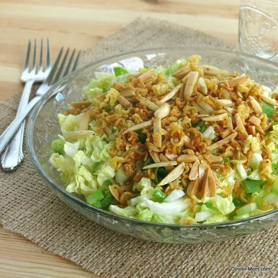 Chinese Napa Cabbage Salad with a crunchy noodle and nut topping - a party favorite!