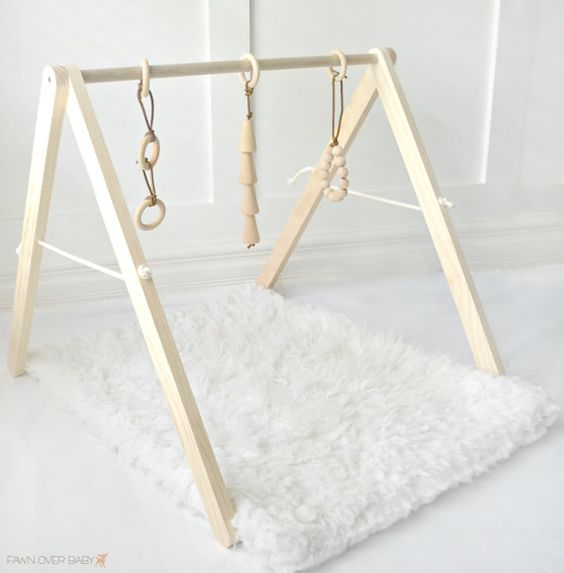 Wooden Baby Play Gym Baby Activity Gym Natural by FawnOverBaby