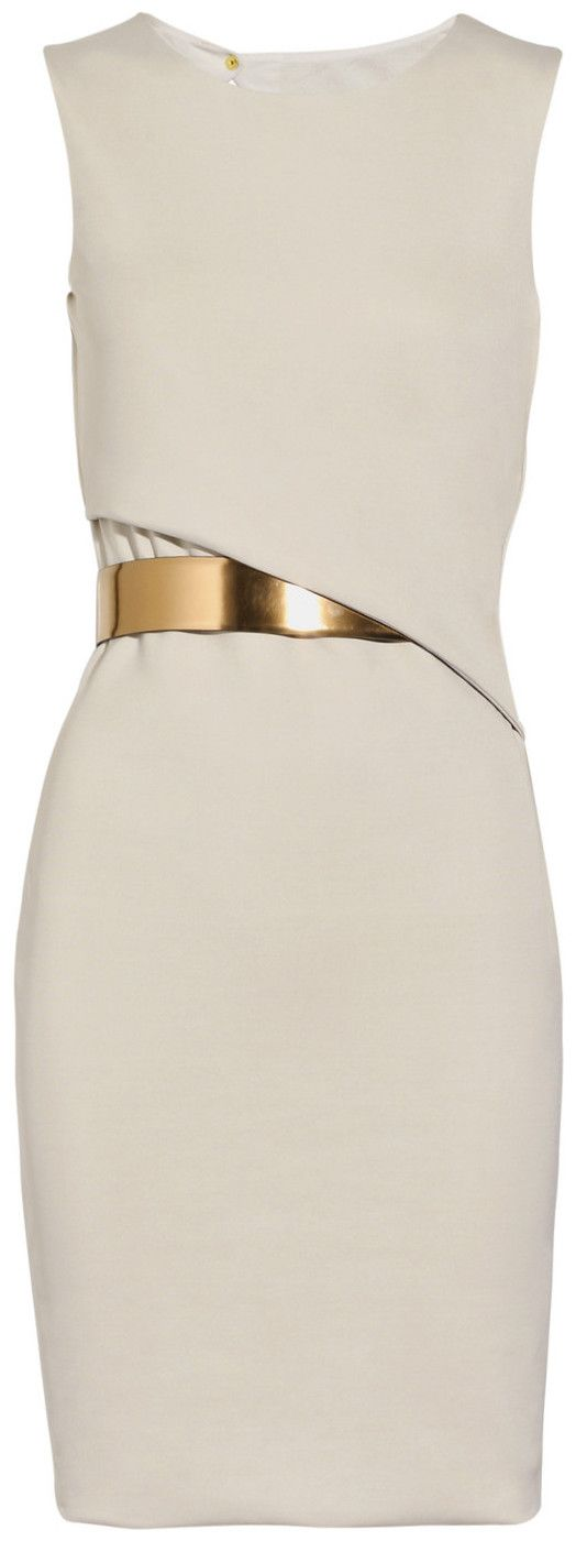 ...simple white Gucci dress with a gold cincher. prom