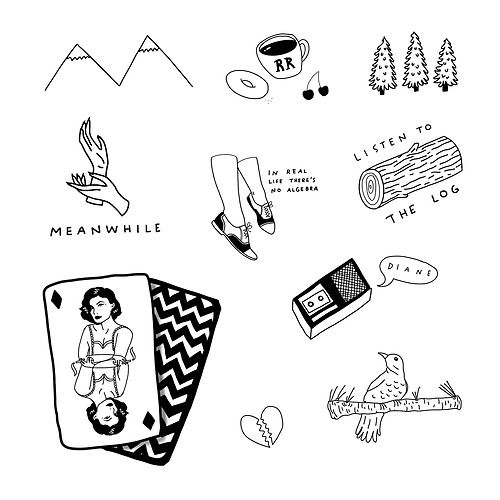 """twin peaks tattoo sheet. Really want the """"meanwhile"""" one."""