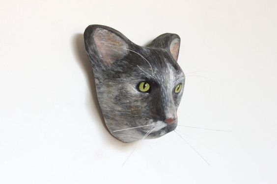 3D Custom cat portrait / wall decor scullpture faux by Macheanimal, $68.00