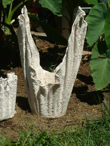 Burlap draped planter pot for succulents ornamental concrete statuary - Casting concrete planters ...