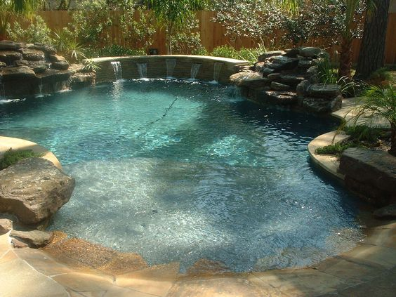 Pools backyards and google on pinterest - Beach entry swimming pool designs ...