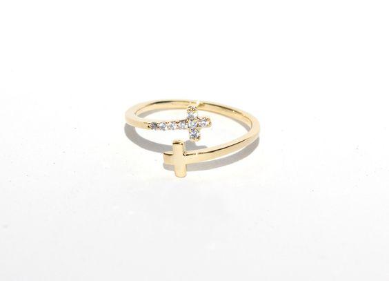 Open Cross Ring Gold