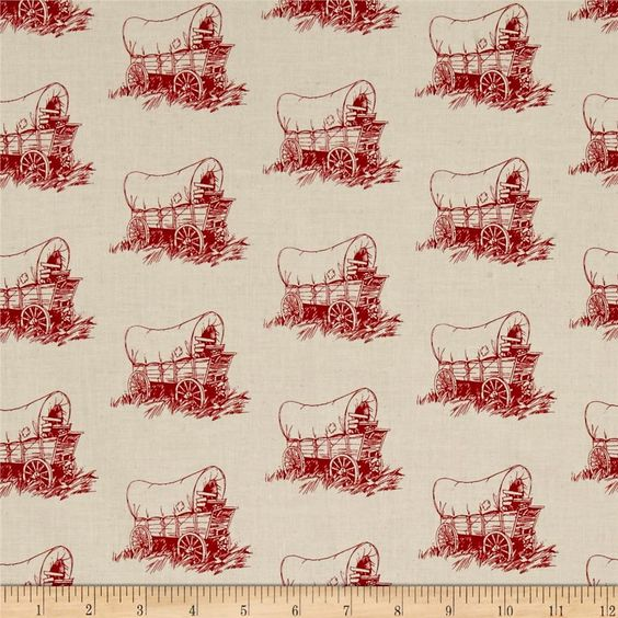 Little House on the Prairie Wilder Wagon Red from @fabricdotcom  Owned and licensed by Friendly Family Productions and under license to Andover Fabrics, get inspired by your favorite childhood classic, Little House on the Prairie by Laura Ingalls Wilder with these classic and reproduction prints. Perfect for quilting, apparel, and home decor accents. Colors include red and muslin.: