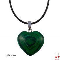 Pendentif coeur en pierre malachite stone