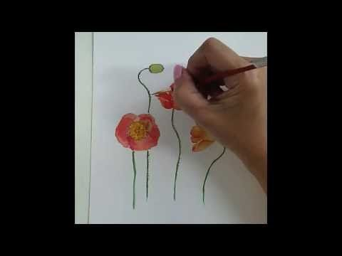 Aquarell Fur Anfanger Mohnblumen Malen Watercolor For Beginners
