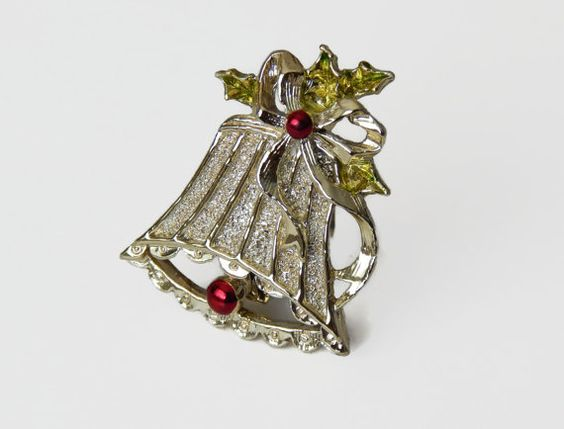 Vintage Gold Christmas Bell Brooch Holiday by NatureCoastVintage