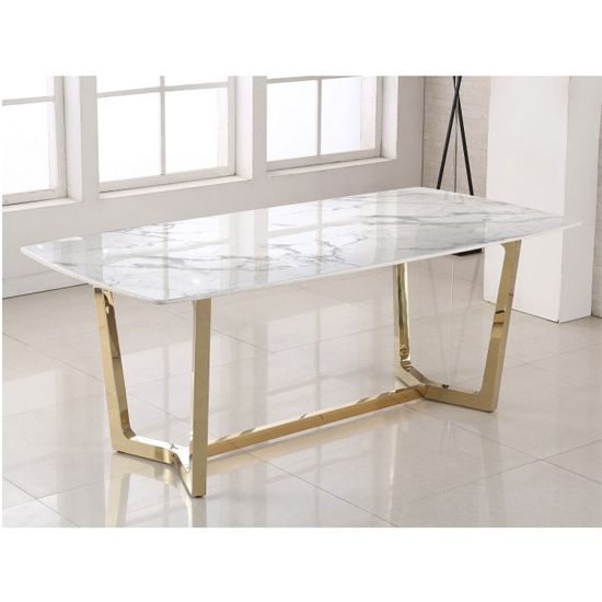 Veneta Rectangular White Marble Dining Table With Gold Legs Furniture In Fashion Dining Table Marble Marble Dining Dining Table Gold