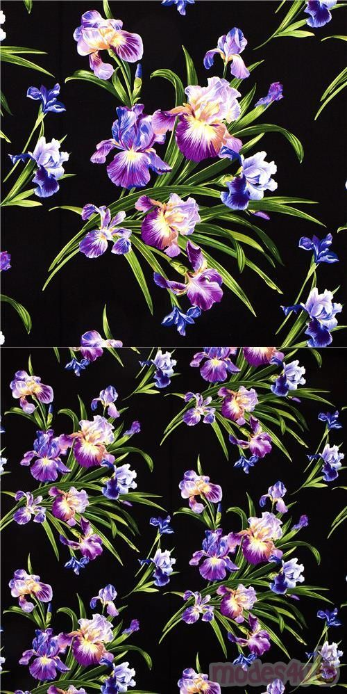 Michael Miller Fabric With Big Iris Flower In 2020 Iris Flowers Michael Miller Fabric Michael Miller