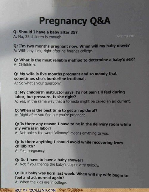 Classic: Pregnancy FAQs and they wonder why I don't want one.