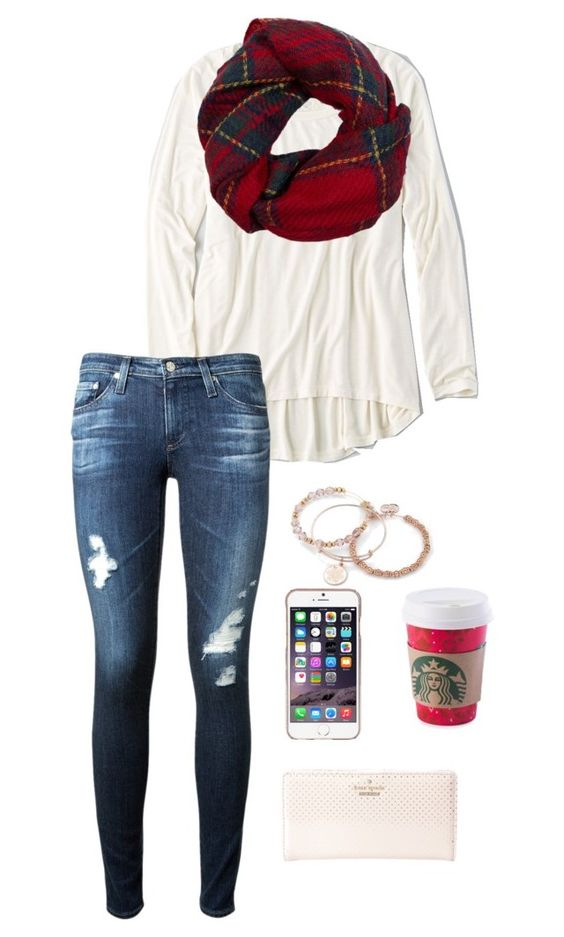 """""""White lips, pale face, breathing in snowflakes"""" by toonceyb ❤ liked on Polyvore featuring American Eagle Outfitters, Fevrie, AG Adriano Goldschmied, Kate Spade, Agent 18 and Alex and Ani"""
