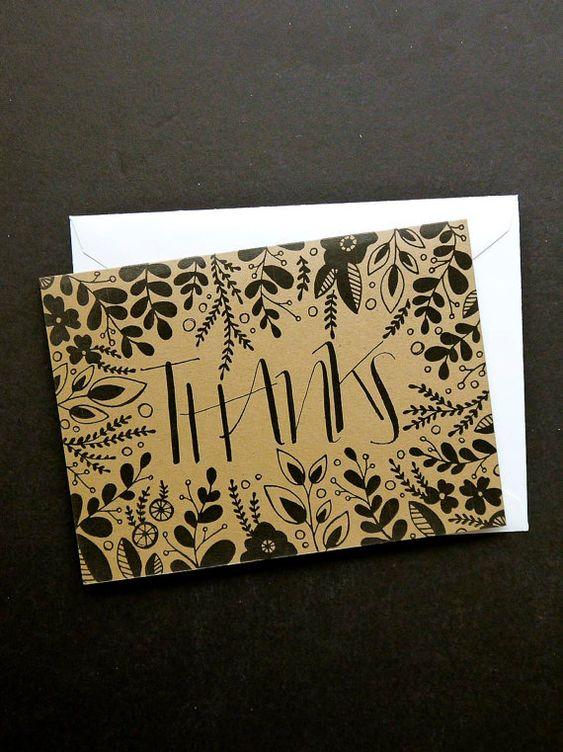 Kraft or Cream Hand-drawn Floral Thank You Card, Wedding, Rustic, All Occasion, Birthday, Anniversary