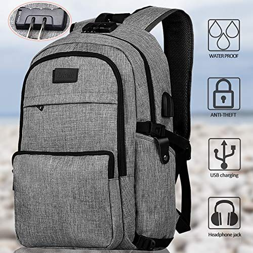 Anti-theft Men Women Laptop Backpack USB Port Headphone Hole Laptop School Bag