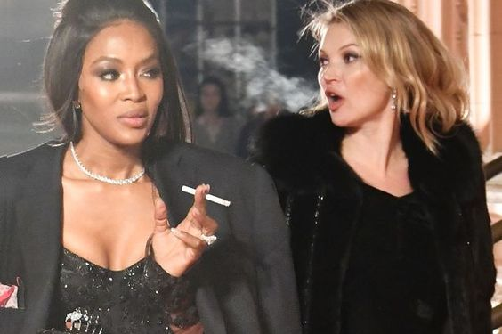 Kate Moss and Naomi Campbell keep things classy as they smoke cigarettes on red carpet of British Fashion Awards - Mirror Online: