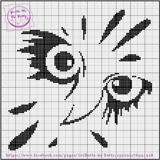 grille 105 free chart owl face monochrome