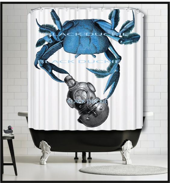 Blue Crab diving helmet Shower Curtain nautical by TheBlackDuckie ...