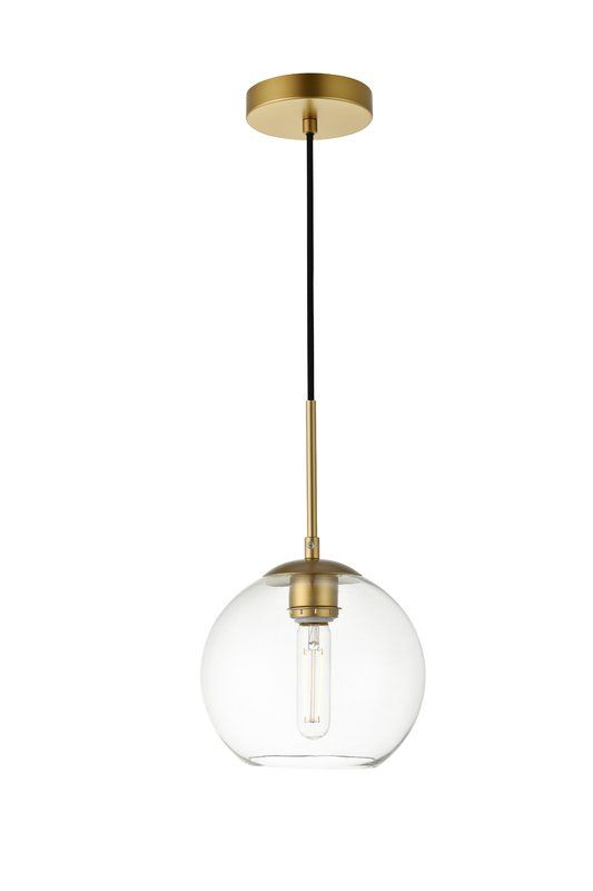 Yearwood 1 Light Single Globe Pendant Clear Globe Pendant Light