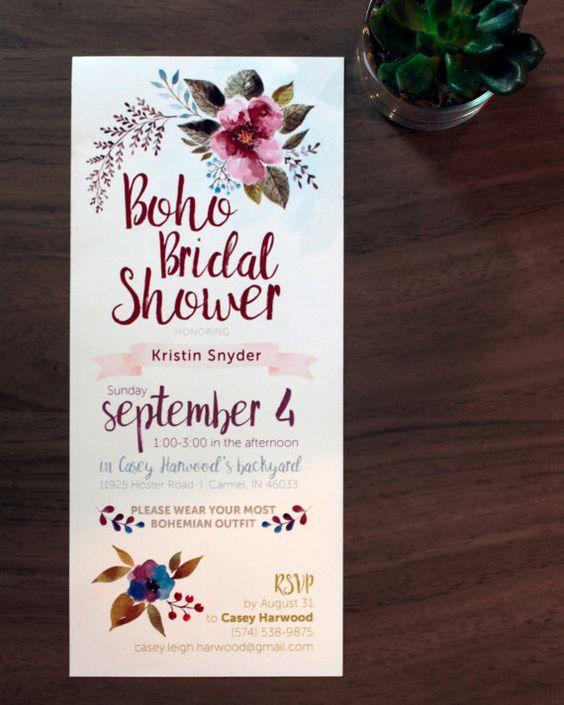 Boho Bridal Shower Invitation Printable by CaseyMakesBoutique