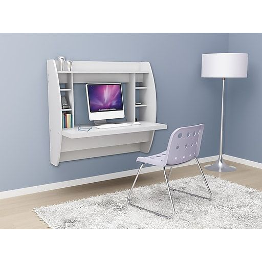 Prepac Wall Mounted Floating Desk With Storage White Wehw 0200 1 At Staples White Floating Desk Home Office Furniture Floating Desk
