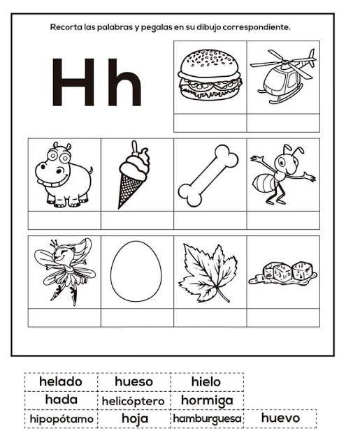 Tareitas Objetos Con H Enseñanza De Las Letras Actividades De Escritura Actividades Del Alfabeto En Preescolar