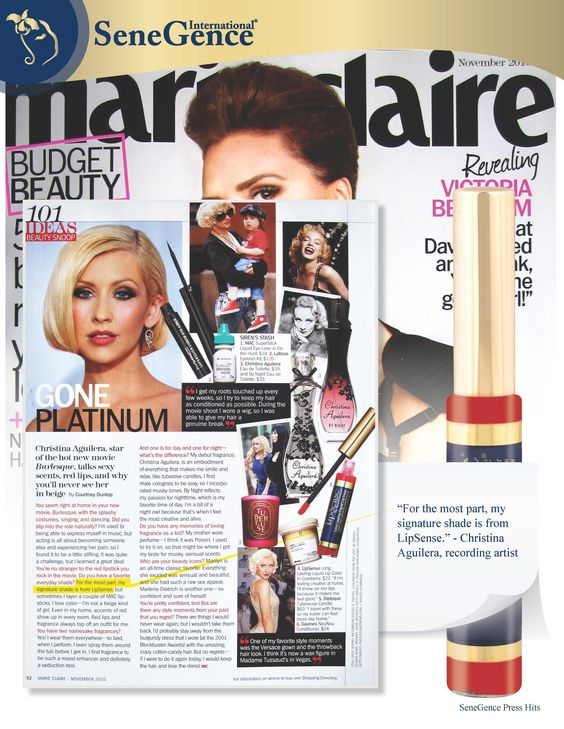 Marie Claire highlights Christina Aguilera's love for Lipsense shade Blu-Red and its amazing color stay technology lipstick!