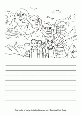 FREE-Story Paper - USA, Mount Rushmore-Celebrate President's Day (also known as Washington's Birthday) with our colouring pages of famous Presidents, printables and other activities for kids. Presidents' Day is a national holiday in the United States and is also officially known as Washington's Birthday. It is celebrated on the third Monday of February, which next falls on 15th February 2016.