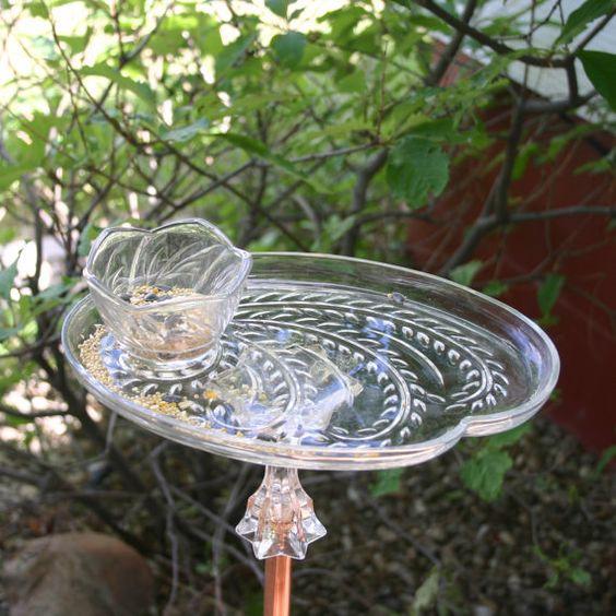 Bird feeders tea cups and birds on pinterest for Upcycled bird feeder