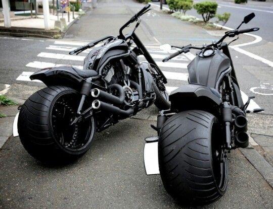 Twin gunmetal black choppers.