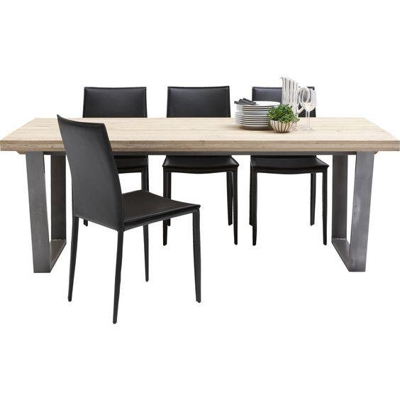 Spisebord med bordplade i sandblæst massiv rustik eg og stel i rå ...