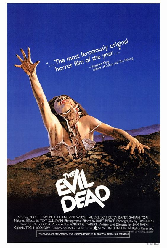 THE EVIL DEAD, 1981. Directed by Sam Raimi, starring Bruce Campbell. Click through for an interview with Campbell.