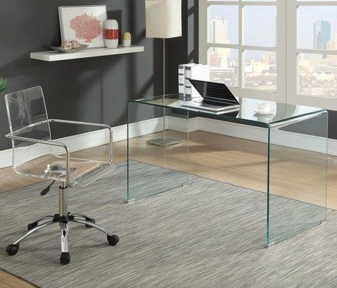 Modern Contemporary Writing Desk Features A Pure Clear Tempered Glass Structure Glass Desk Office Home Office Design Cheap Office Furniture