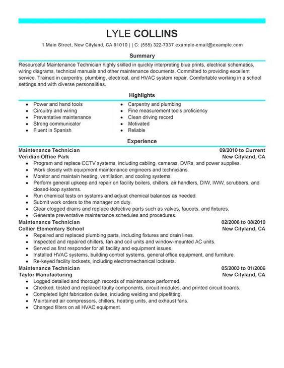 maintenance technician resume sample recipe resume