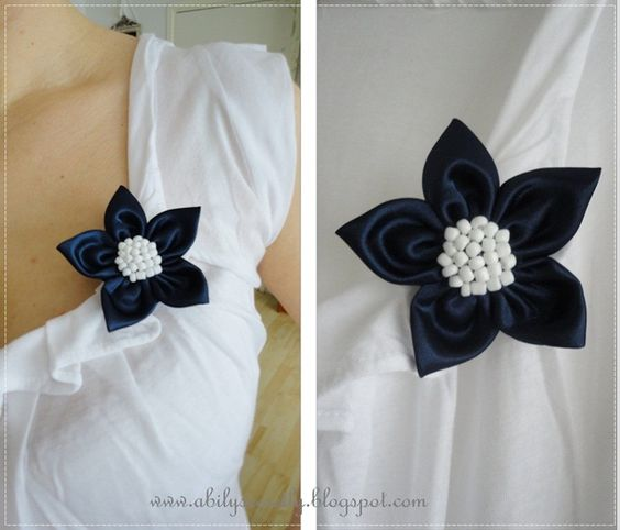 white and navy star brooch