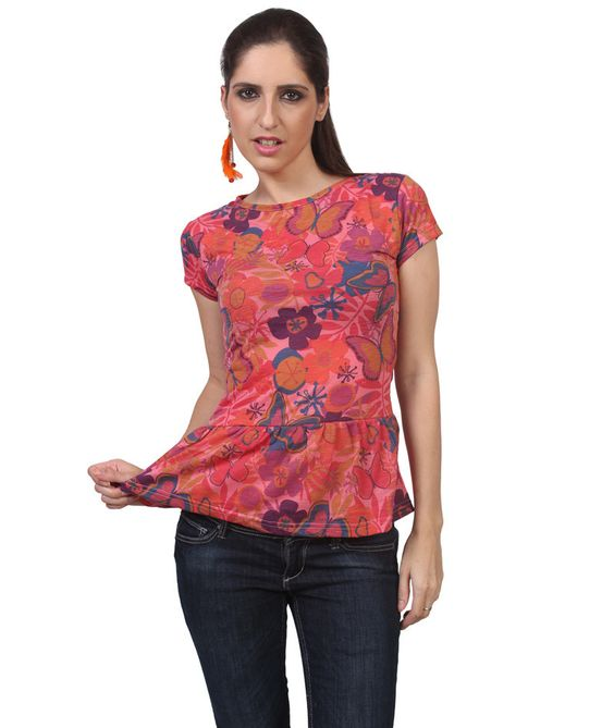 Women's Top With All Over Floral & Butterfly Print