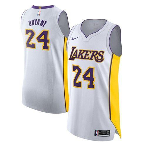 Nike Lakers #24 Kobe Bryant White NBA Authentic Association ...