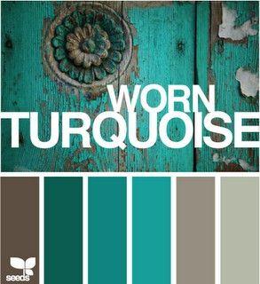Worn turquoise palette ...