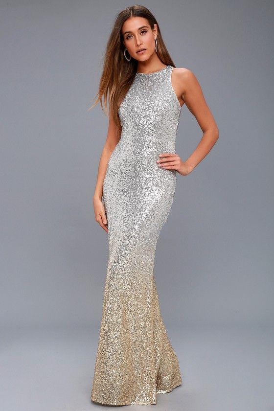 e84147bbd4 Infinite Dreams Gold and Silver Ombre Sequin Maxi Dress in 2019 ...